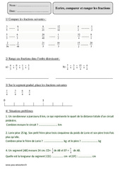 Ecrire, comparer et ranger les fractions – Cm2 – Révisions avec correction