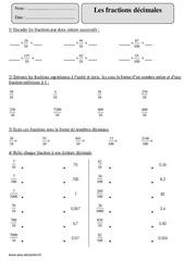Fractions décimales – Cm2 – Exercices à imprimer