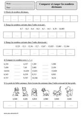 Comparer et ranger  les nombres décimaux – Cm2 – Révisions avec correction