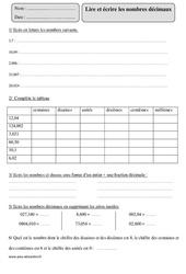 Lire et écrire les nombres décimaux – Cm2 – Exercices à imprimer