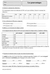 Pourcentages – Proportionnalité – Cm2 – Exercices avec correction