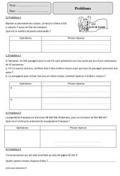 Quotient - Reste - Division – Problèmes – Cm2 – Exercices à imprimer