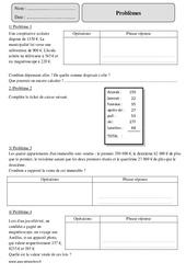 Additifs  – Problèmes – Cm2 – Exercices à imprimer