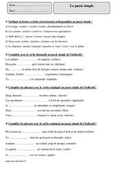 Passé simple – Cm1 – Exercices avec la correction