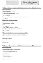 Phrase verbale - Phrase non verbale – Cm1 – Révisions avec correction