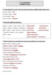 Synonymes – Cm1 – Révisions à imprimer
