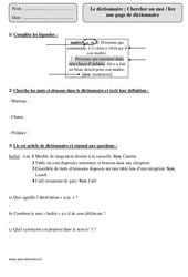 Dictionnaire – Cm1 – Révisions à imprimer