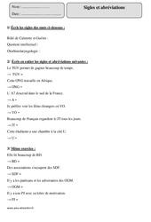 Abréviations – Sigles – Cm1 – Exercices à imprimer