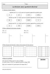 Division avec quotient décimal – Cm1 – Exercices à imprimer