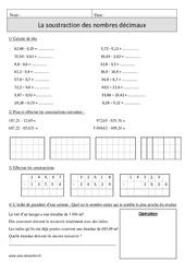 Soustraction des nombres décimaux – Cm1 – Révisions avec correction