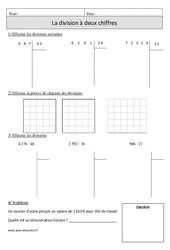 Division à 2 chiffres – Cm1 – Exercices avec correction