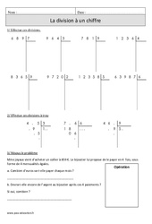 Division à 1 chiffre + sens – Cm1 – Exercices à imprimer