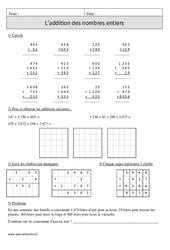 Addition des nombres entiers – Cm1 – Exercices avec correction