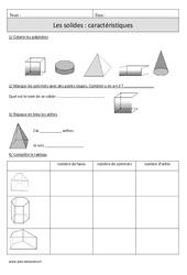 Solides – Caractéristiques – Cm1 – Révisions à imprimer