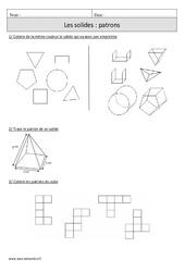 Solides - Patrons – Cm1 – Exercices à imprimer