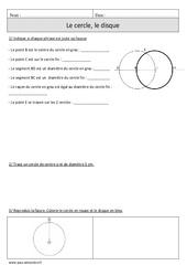 Cercle – Disque – Cm1 – Exercices avec correction