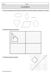 Symétrie – Cm1 – Exercices avec correction