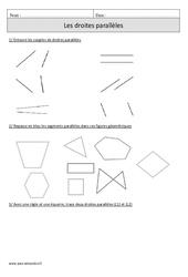 Droites parallèles – Cm1 – Exercices à imprimer