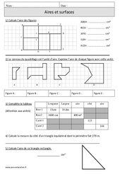 Aires – Surfaces – Cm1 – Révisions à imprimer