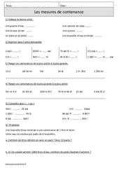 Mesures de contenance – Cm1 – Révisions avec correction