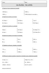 Durées – Unités – Cm1 – Révisions à imprimer