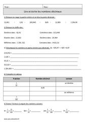 Lire et écrire les nombres décimaux  – Cm1 – Exercices avec correction