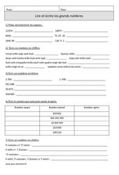 Lire et écrire les grands nombres – Cm1 – Exercices à imprimer