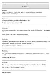 Fractions – Problèmes – Cm1 – Révisions avec correction