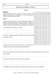 Statistiques et probabilités – Exercices – Synthèse – 3ème – Brevet des collèges