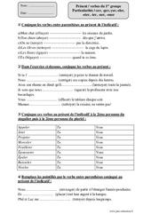 Présent – verbes du 1er groupe -cer, -ger,-yer,-eler, -eter, -ier, -uer, -ouer – Cm1 – Exercices à imprimer