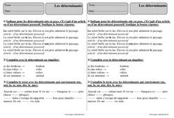 Déterminants – Ce2 – Révisions avec correction