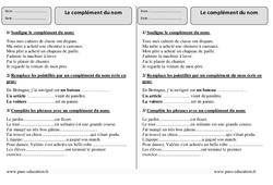 Complément du nom – Ce2 – Exercices à imprimer