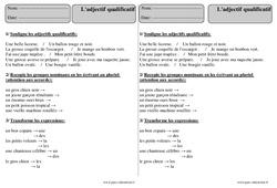 Adjectif qualificatif – Ce2 – Révisions