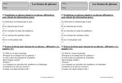 Formes de phrases  – Ce2 – Exercices à imprimer