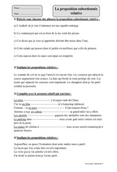 Proposition subordonnée relative – Cm1 – Exercices à imprimer