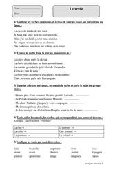 Verbe - Cm1 - Exercices avec correction