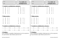 Tables de multiplication – Ce2 – Exercices à imprimer