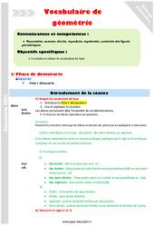 Vocabulaire de géometrie : points, droites, segments - CM2 - Fiche de préparation