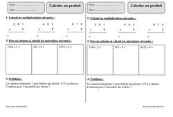 Calculer un produit  – Ce2 – Exercice à imprimer