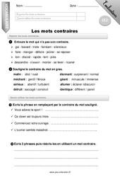 Mots contraires - Ce2 - Evaluation - Bilan