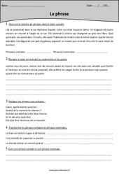 Phrase verbale – Phrase non verbale – Phrases nominales – Cm1 – Exercices
