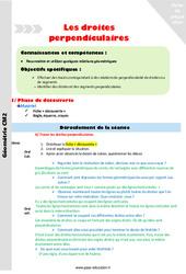 Droites perpendiculaires - CM2 - Fiche de préparation