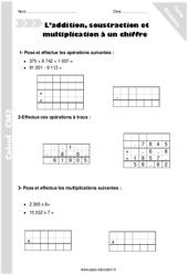 Addition, soustraction et multiplication à un chiffre - CM2 - Révisions