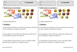 Monnaie – Ce2  – Exercices avec correction sur les euros