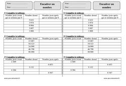 Encadrer un nombre – Ce2 – Exercices à imprimer