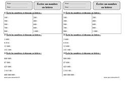 Écrire un nombre en lettres – Ce2 – Révisions avec correction