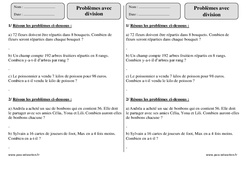 Division – Ce2 – Problèmes à imprimer