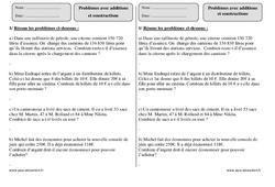 Additions – Soustractions – Ce2 – Problèmes à imprimer