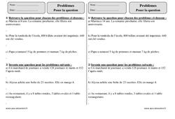 Poser la question – Ce2 – Problèmes à imprimer