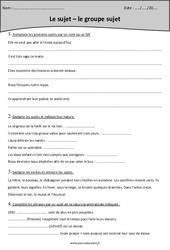 Sujet – Groupe sujet – Cm1 – Exercices à imprimer